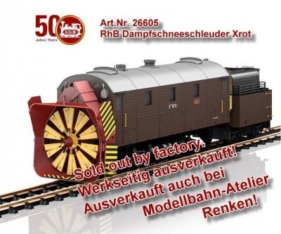 Art. Nr. LGB 26605 Metallmodell aus Messing und Druckguss der Dampfschneeschleuder Xrot 9213 der RhB